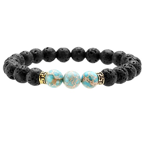 Top Plaza Black Lava Rock Stone Elastic Beaded Bracelet Healing Energy Stretch Bracelets with 3 Imperial Jasper(Sky blue) (Healing Energy Jewelry compare prices)