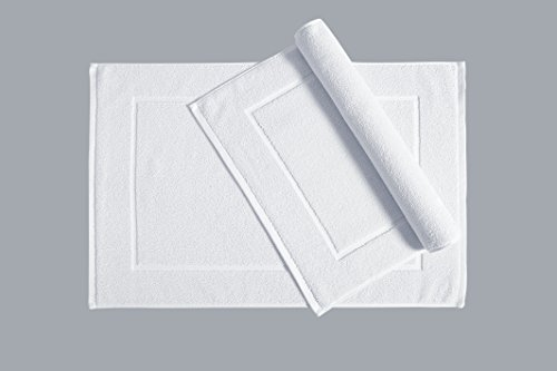 Welhome Cotton Set Of 2 Bath Mats; 20 X 30 Inch, Soft And Absorbent White