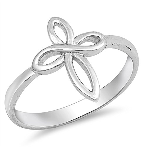 Infinity Love Knot Cross Christian Ring New .925 Sterling Silver Band Size 6 (Ring Cross Sterling Silver)