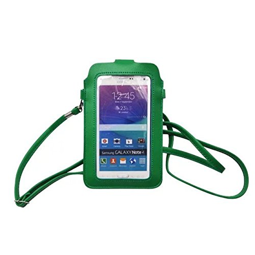 Premium Universal PU Leather Wommen Shoulder Bag Mobile Phone bag Case Pouch for Apple iphone 6 Plus 5.5'' / Samsung Galaxy Note 3 / Note 4 / Note Edge / Samsung Mega 6.3 / Nokia Lumia 1520 (Green) (Mobile Phone Pouch)