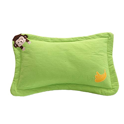 Jiaxiang Baby Pillow Healthy Herb Pillow Buckwheat Hull Pillow or Millet Hull Pillow (0-5 Years Old) (Green Monkey, Buckwheat Hull)