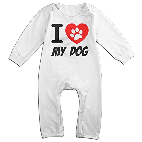 Price comparison product image PCY Newborn Babys Boy's & Girl's I Love My Dog Footprint Long Sleeve Jumpsuit Outfits For 6-24 Months White Size 24 Months