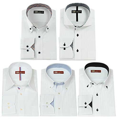 クラウンメッセンジャーはちみつ(ワワジャパン)WAWAJAPAN ホワイトドビー長袖ワイシャツ5枚セット Aセット