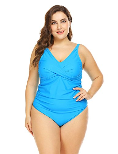 IN'VOLAND Women Plus Size Swimwear one Piece Swimsuits V Neck Tummy Control Bathing Suit(Acid Blue, 24W)