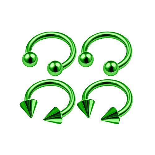 (4Pcs Green Anodized 16 Gauge 1/4 6mm Horseshoe Ring Piercing Jewelry Tragus Cartilage Eyebrow Septum Nose 3mm Ball Cone M4955)