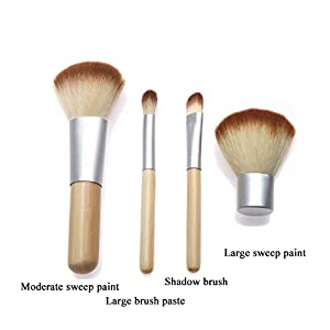 Sunroyal Professional Makeup Brush Set Premium Soft Slim Cosmetic-4pc Studio Pro Makeup Make Up Cosmetic Brush Set Kit For Eye Shadow, Blush, Concealer, Etc. (White & Wood)