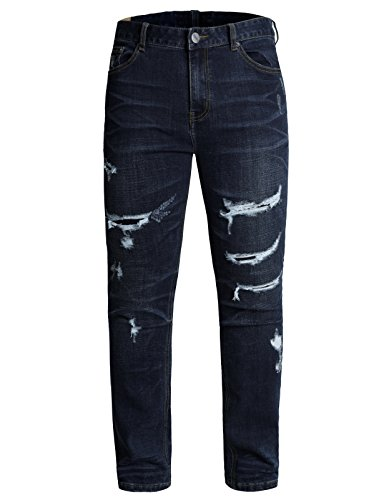 LNY Apparel Men's Destroyed Line Joker Denim Pants (MPT067-DARKBLUE-32) (Joker Jeans)