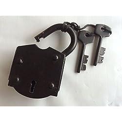 Iron Lock & Keys ~ Old Vintage Antique 1800s Style ~ Black