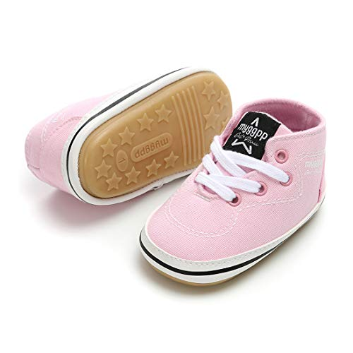 RVROVIC Baby Boys Girls Shoes Canvas Toddler Sneakers Anti-Slip Infant First Walkers 0-18 Months (13cm (12-18months), 6-Pink) by RVROVIC (Image #3)