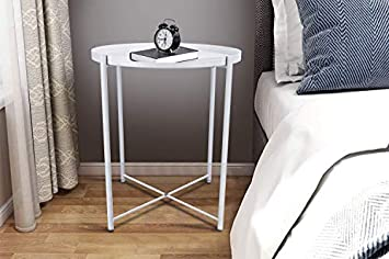 Round Side Table – 20 Small Reversible Metal Tray End Table, Modern Steel Patio Garden Sofa Coffee Snack Bed Nesting Tables Nightstand for Living Room Bedroom Decor Indoor Outdoor-White