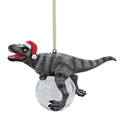 Design Toscano Blitzer the T Rex Dinosaur Christmas Tree Ornament, 5 Inch, Single