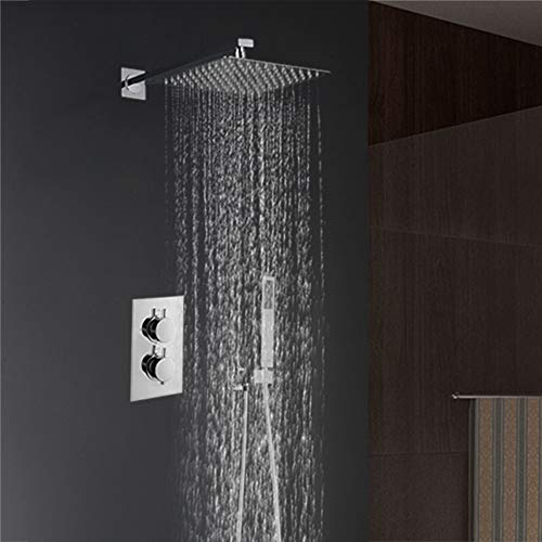 Four Thermostatic Bathroom Modern Chrome Bath tub Shower Faucet Anti-scalding tap Shower Head Spray Shower