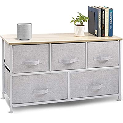 """Wide Drawer Dresser Storage Organizer - CERBIOR 5-Drawer Closet Shelves, Sturdy Steel Frame Wood Top with Easy Pull Fabric Bins for Clothing, Blankets- Grey - High-quality Material : Made of high-quality metal frame structure, non-woven materials fabric drawer, Eco-friendly MDF top, durable and adorable. Adjustable feet keep them level and compensate for uneven floors and carpet 5-Removal Drawer: size--11.4""""x39.3""""x21.6"""" high, roomy drawer could store clothes, toys, cosmetics, daily groceries, towels and other household items, keeping them organized. This chest of drawers can be used in multiple rooms throughout the home STYLISH SMART STORAGE: This furniture stand boasts a slim, light weight design to easily fit into smaller spaces while still providing plenty of storage space; Our storage cube dresser has been designed with a solid work surface on top, making the dresser great for various uses such as a shelf or nightstand. Plastic feet will not scratch flooring, and they are adjustable for uneven surfaces - dressers-bedroom-furniture, bedroom-furniture, bedroom - 41kQs9ruQNL. SS400  -"""