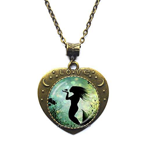 Yao0dianxku Mermaid Necklace,Mermaid Jewelry,Mermaid Pendant,Mermaid Art Charm Necklace,Mermaid by ()