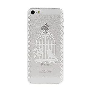 LZX Litchi Texture Bird and Birdcage Pattern Plastic Hard Case for iPhone 5/5S