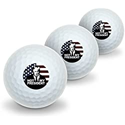 Not My President Anti Donald Trump Novelty Golf Balls 3 Pack