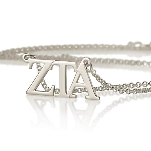 Personalized Necklace Omega (Zeta Tau Alpha Necklace 925 Sterling Silver, Personalized Sorority Jewelry Gifts)