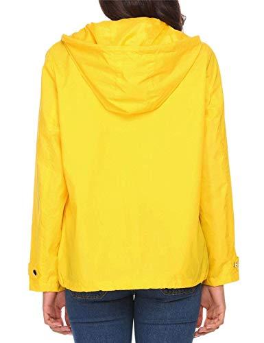 A Gelb Mode Con Bolawoo Impermeable Ligero Y Cremallera Transpirable Presión Windbreaker Botón Marca Jacket Chaqueta Mujeres Rain De Capucha wz1qwU6