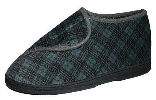 Dunlop Check Herren Hausschuhe, Klettverschluss, verstellbare Größen: 6-11 Grau
