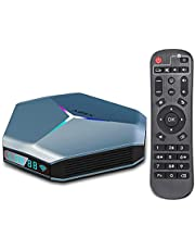 $79 » Android TV Box 4K Android 10.0 TV Box RAM 4GB ROM 32GB Support 2.4G/5.0G Dual WiFi AV1 Decoding Android Box with IR Remote Control