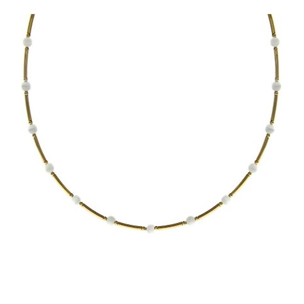 Glitzs Jewels Gold Tone Over Sterling Silver Bar /& White Cats Eye Bead Necklace 18.5