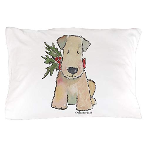 CafePress Wheaten Terrier with Holly Standard Size Pillow Case, 20