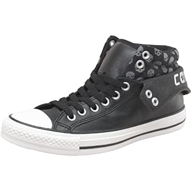 2418988f99 Womens Converse CT All Star Padded Collar 2 Mid Leather Skulls Black Girls  Ladies (6.5