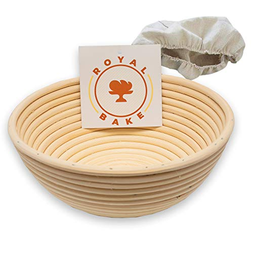 RoyalBake Banneton Bread Proofing Basket | Premium 9 Inch Sourdough Bowl and Cloth Liner | Round Baking Bread Basket Gift | For Professional and Home Bakers