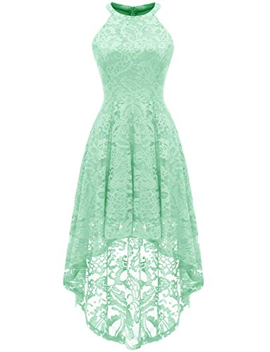 Dressystar 0028 Halter Floral Lace Cocktail Party Dress Hi-Lo Bridesmaid Dress M Mint