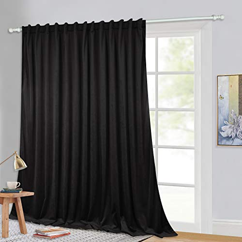 Blackout Velvet Curtains for Sliding Door - Thick Velvet Drapes Heat Insulated Vertical Blinds Deep Darkness Privacy Space Separate Room Divider Curtains for Living Room, Black, 100 x 120-inch, 1 Pc