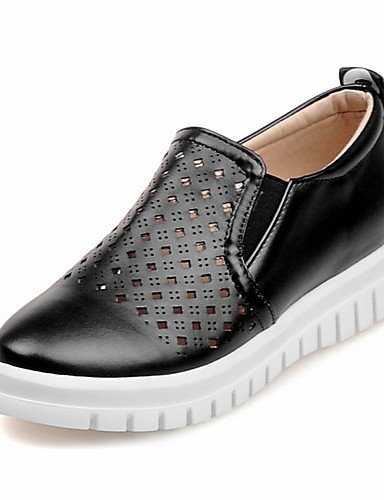 ZQ Zapatos de mujer-Plataforma-Comfort / Punta Redonda-Mocasines-Vestido / Casual-Semicuero-Negro / Rosa / Blanco / Plata / Oro , black-us8 / eu39 / uk6 / cn39 , black-us8 / eu39 / uk6 / cn39 golden-us9 / eu40 / uk7 / cn41