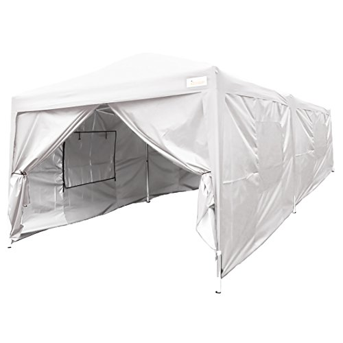 Tent Canopy King (KING Kingbird 20 x 10 ft Easy Pop up Canopy Waterproof Party Tent 6 Removable Walls Mesh Windows with Carry Bag-3 Colors (White))