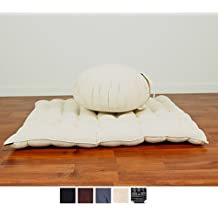 Meditation Set: Zafu Cushion, Zabuton Mat, 30x28x10 inches, Kapok Fabric, White