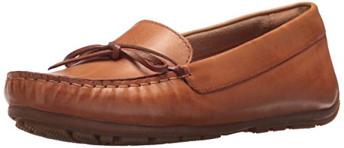 CLARKS Women's Dameo Swing Driving Style Loafer, Light tan Leather, 8.5 Medium US