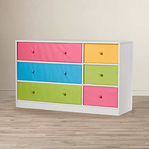 Kids Dresser With Drawers Fabric Bins - Multi Colored Toddler Room Clothes Storage Chest - Playroom Organizer With White Base