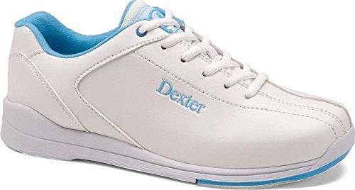 Jr Youth Bowling Shoes (Dexter Junior Raquel IV Bowling Shoes, White/Sky Blue, Size 1)