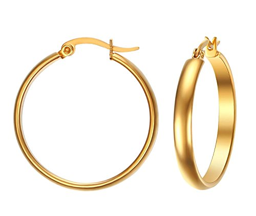 BBX Women's Stainless Steel 4mm Round Tube Medium Hoop Earrings,1.1 Diameter