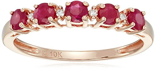 10k Rose Gold Genuine Burmese Ruby and Diamond Accented Stackable Ring, Size (Burmese Rose)