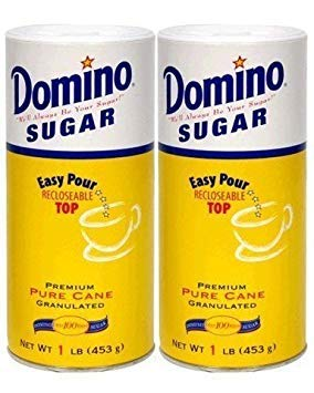 Pack Dominoes (Domino Premium Pure Cane Granulated Sugar with Easy Pour Recloseable Top 16 oz. (Pack of 2))