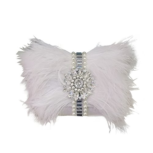 Zakia Real Natural Ostrich Feather Crystal Pearl Center Clutch Shoulder Bag for Wedding Party (white) by Zakia