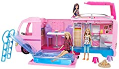 This amazing Barbie Dream Camper transforms from a camping RV into a campsite playset with room for four Barbie dolls to sleep (dolls sold separately). Designed in signature pink with rolling wheels, this camper opens to reveal so much more! ...