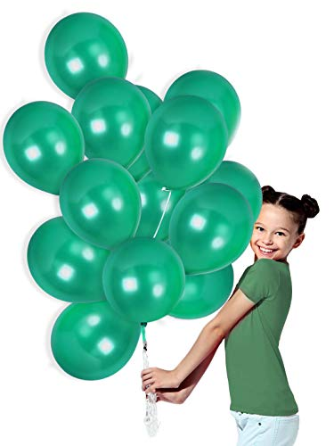 Metallic Emerald Green Latex Balloons with Curling Ribbons Bouquet for Birthday Wedding Graduation Mardi Gras Party Supplies (72 Pack) -