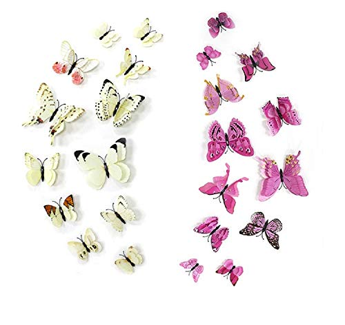 - FiveRen 24 PCS Double Wing 3D Butterfly Wall Stickers DIY Art Decor Crafts for Nursery Classroom Offices Kids Girl Baby Bedroom Living Room Magnet & Glue Sticker Set (2 Colors, 2 Packs, White, Pink)