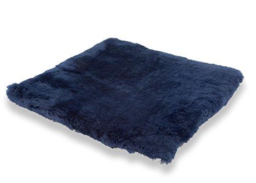 Sitzkissen Lammfell Vollfell blau (Rollstuhlauflage Katzenbett)