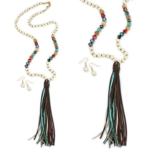 Wyo-Horse Western Jewelry Collection Extra Long Beaded Rosary Or Mala-Style Tassel Necklace Set