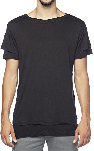 The Project Garments Men's Silk Blend Double Layer Crew Neck Tee Black (Small)