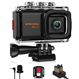 "Apexcam Pro 4K WiFi Action Camera,20MP EIS Waterproof Sports Camera 40M Ultra HD Underwater Camcorders External Microphone 170°Wide-Angle 2.0""LCD 2.4G Remote 2 Batteries Accessories"