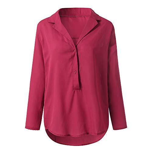 tinta T Primavera Donna originale colletto 2019 con T elegante rosso shirt forti unita shirt Camicette Abiti Taglie R7YBq4