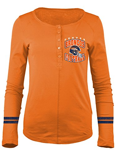 NFL Denver Broncos Women's Long Sleeve Scoop Neck Henley Shirt, Medium, (Denver Broncos Long Sleeve Shirt)