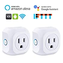 JUANWE WiFi Smart Plug Outlet with Energy Monitoring and Timer Function, Mini Smart Socket Compatible with Amazon Alexa, Echo, Google Home &IFTTT, Remotely Controls, No Hub Required (2 Pack, White)